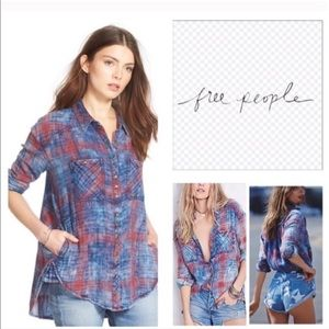 Free People Double Dip Plaid Flannel Red Blue Top